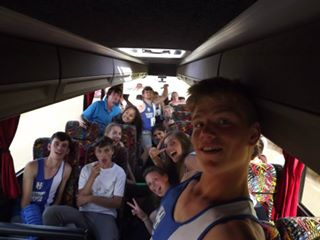 Happy Harriers on the Road back from Crewe...... Chris hugging the front of the photo in front of Katie & Roxie!!