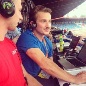 Former English Schools Bronze Medallist and Blackburn Harrier Matt Wood - commentating at the Championships for Vinco