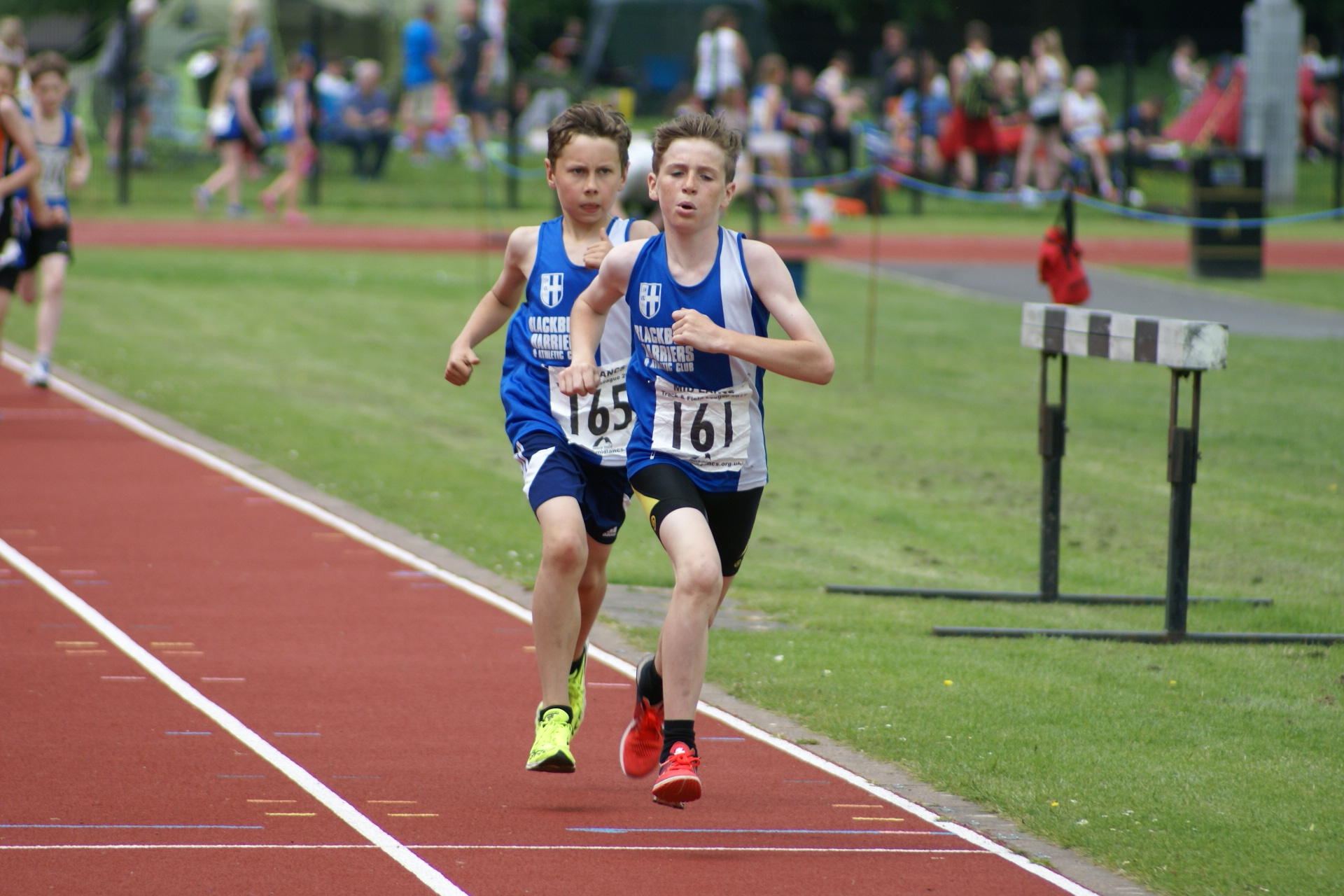 Good Performances by the Harriers young athletes at Mid Lancs T & F League